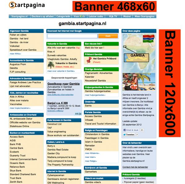 Voorbeeld van de bannerposities op een startpagina.nl.